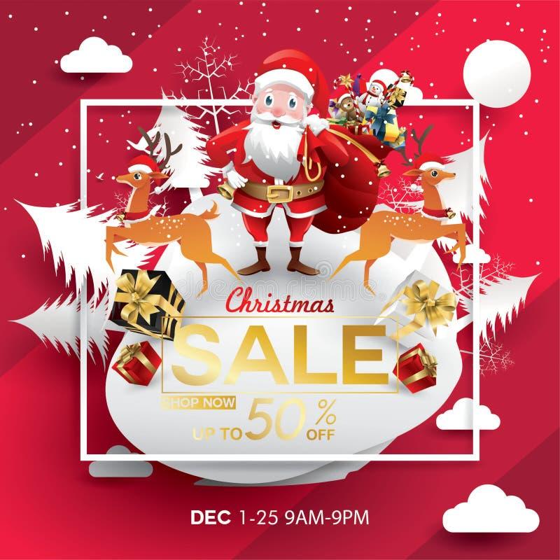 Modello di progettazione di stagione di vendita di Natale arte di carta e stile digitale del mestiere cartolina d'auguri dell'ill illustrazione di stock