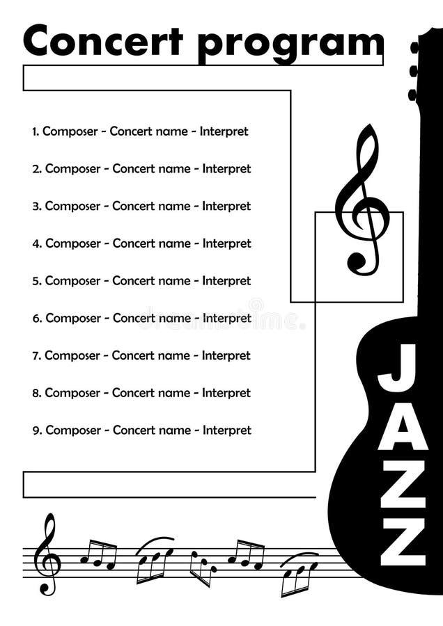 Modello di programma di concerto di jazz con tagliato della chitarra, della chiave tripla e di alcune note in doga, opuscolo musi illustrazione di stock