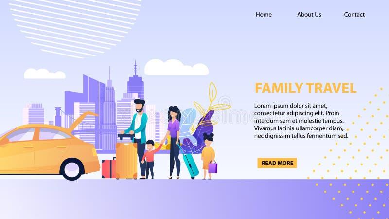 Modello di promozione della pagina di atterraggio di viaggio della famiglia illustrazione di stock