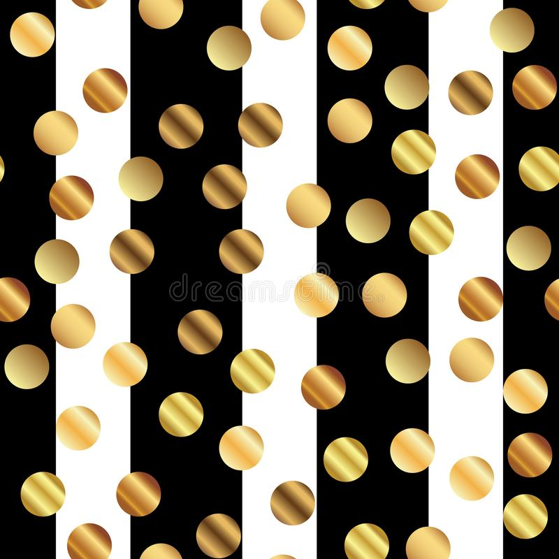 Modello di punti dorato su a strisce in bianco e nero royalty illustrazione gratis