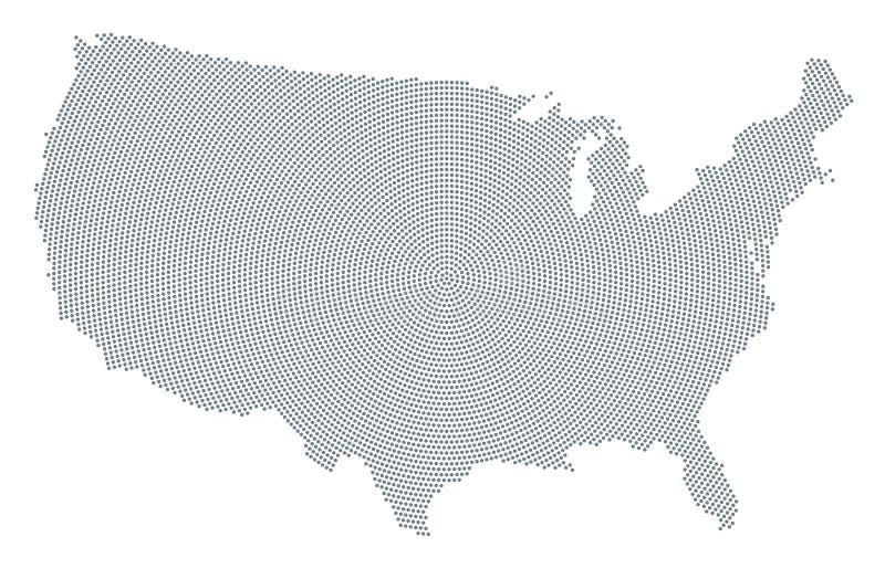 Modello di punto radiale grigio della mappa degli Stati Uniti d'America royalty illustrazione gratis