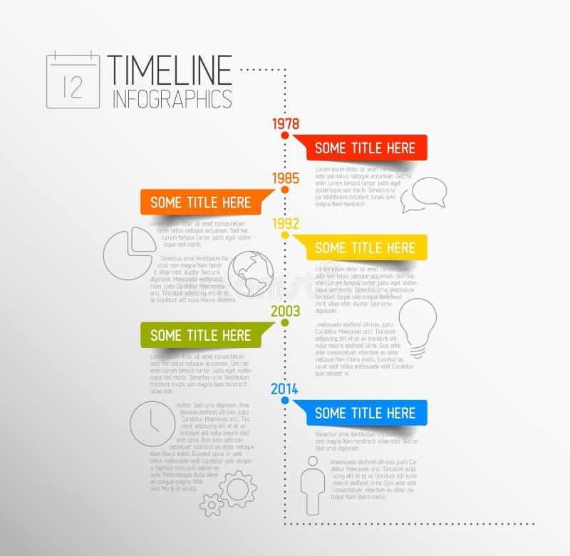 Modello di rapporto di cronologia di Infographic illustrazione di stock