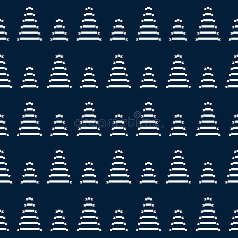 Modello di ripetizione dell'albero di Natale Stampa blu illustrazione vettoriale