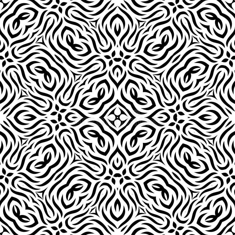 Modello di ripetizione senza cuciture in bianco e nero di vettore illustrazione vettoriale