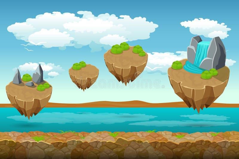 Modello di salto del gioco delle isole, il fondo di fiume e cielo nuvoloso sulla cima fondo senza fine illustrazione di stock
