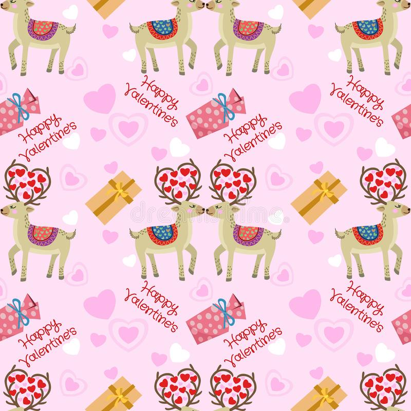 Modello di San Valentino con forma del cuore e della renna su fondo rosa royalty illustrazione gratis