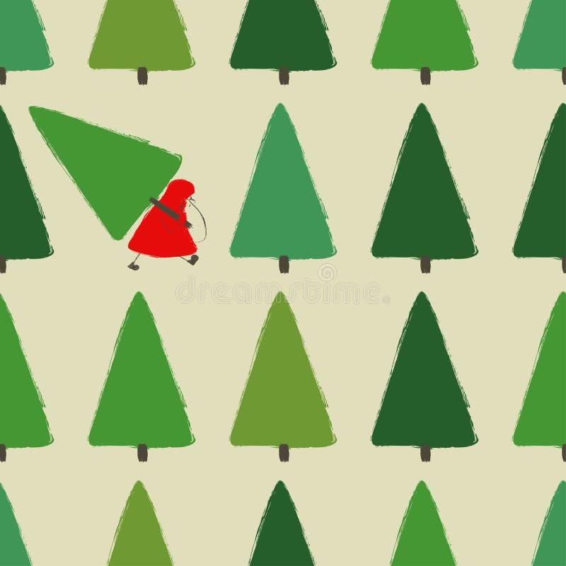 Modello di Santa Stealing Christmas Tree Seamless royalty illustrazione gratis
