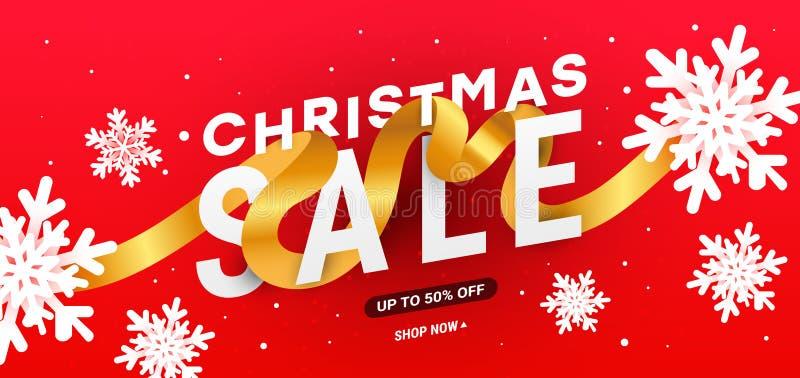 Modello di scheda di progettazione illustrativa vettoriale di Natale con fiocchi di neve bianchi 3d, onde fluide liquide, nastri  illustrazione di stock