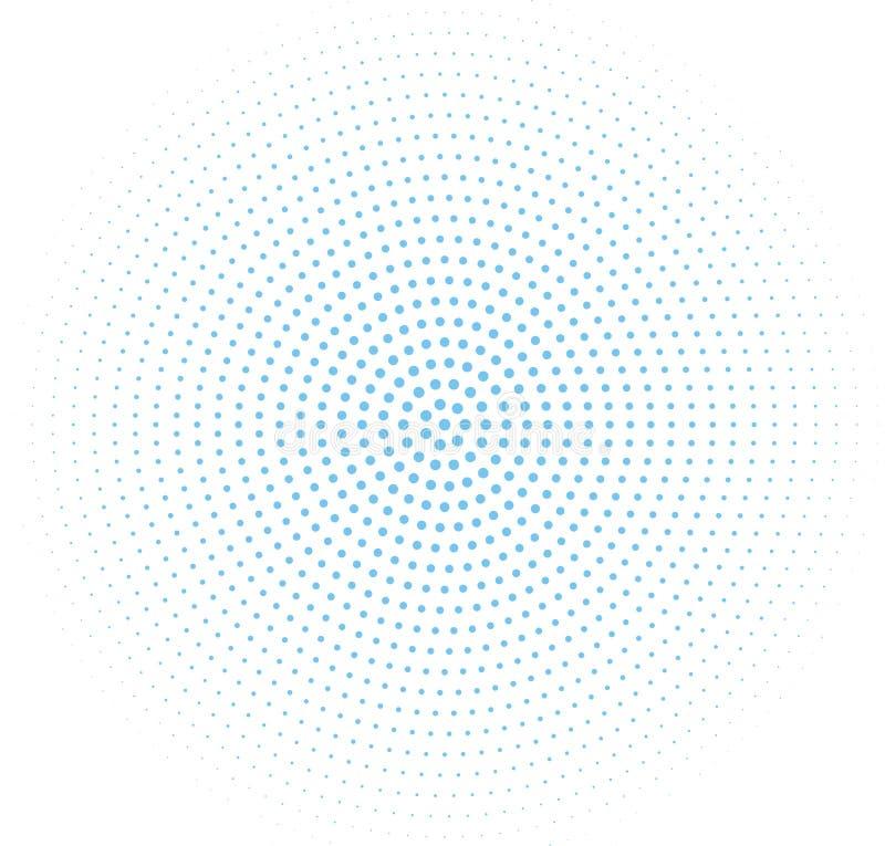 Modello di semitono blu astratto Pannello futuristico Il lerciume ha punteggiato il contesto con i cerchi, punti, punto illustrazione vettoriale