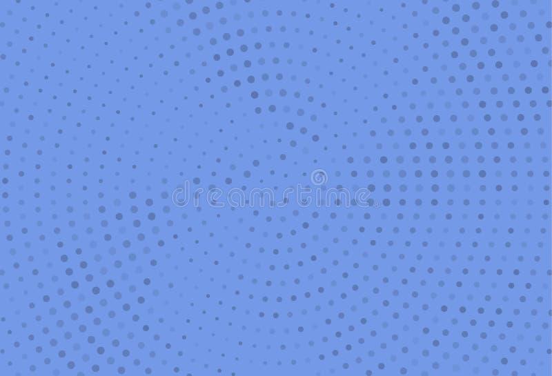 Modello di semitono monocromatico astratto Pannello futuristico Il lerciume ha punteggiato il contesto con i cerchi, punti, punto illustrazione di stock
