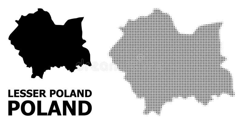 Modello di semitono di vettore e mappa solida di Lesser Poland Province royalty illustrazione gratis