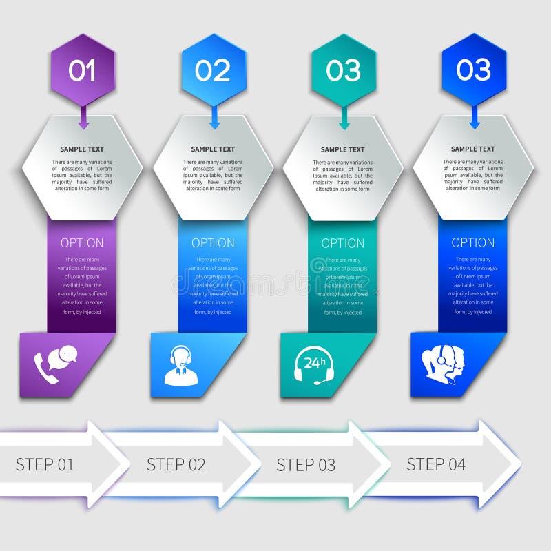 Modello di servizio di infographics di origami illustrazione di stock