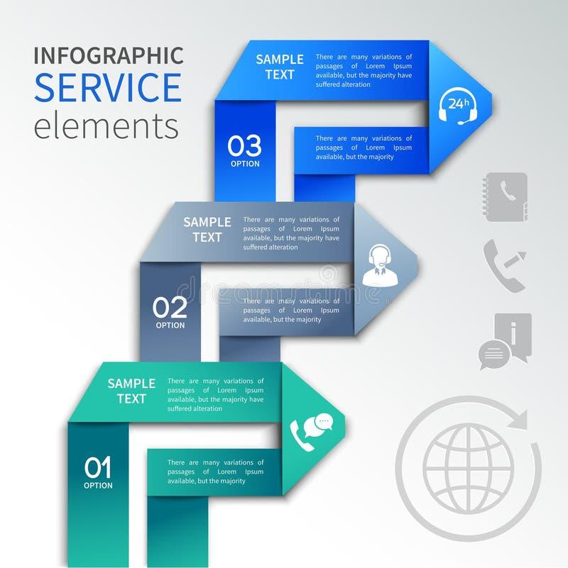 Modello di servizio di infographics di origami illustrazione vettoriale