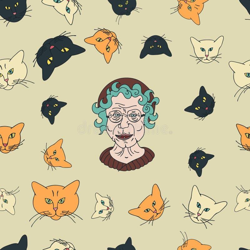 Modello di signora del gatto illustrazione vettoriale
