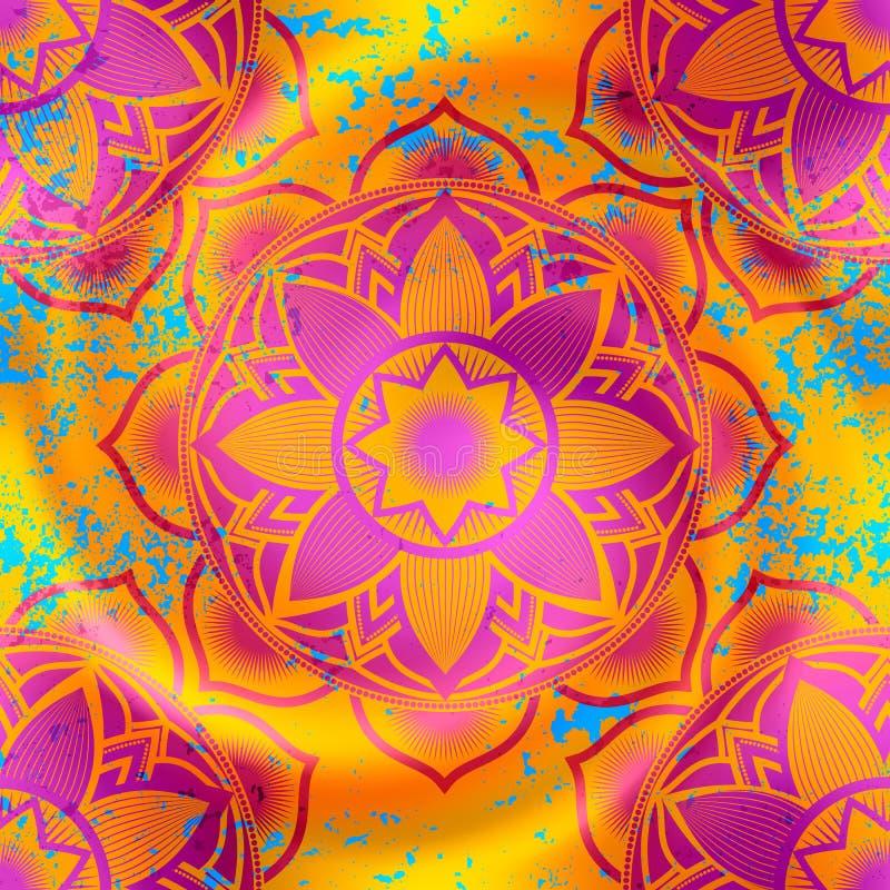 Modello di simboli della mandala sul fondo arancio della sfuocatura illustrazione vettoriale