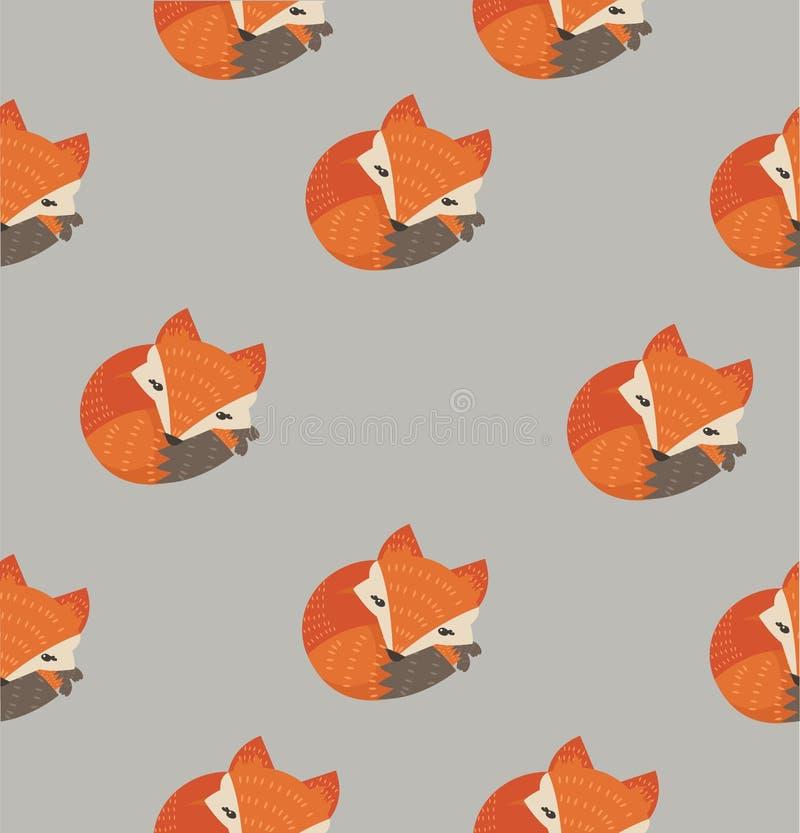 Modello di sonno sveglio della volpe illustrazione vettoriale
