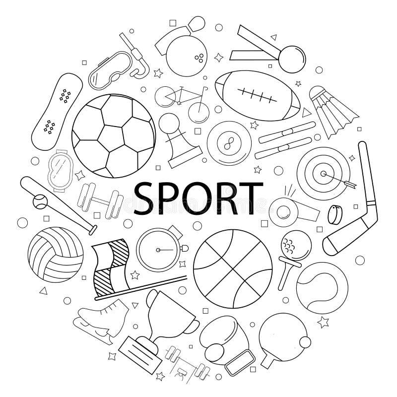 Modello di sport di vettore con la parola Fondo di sport illustrazione vettoriale