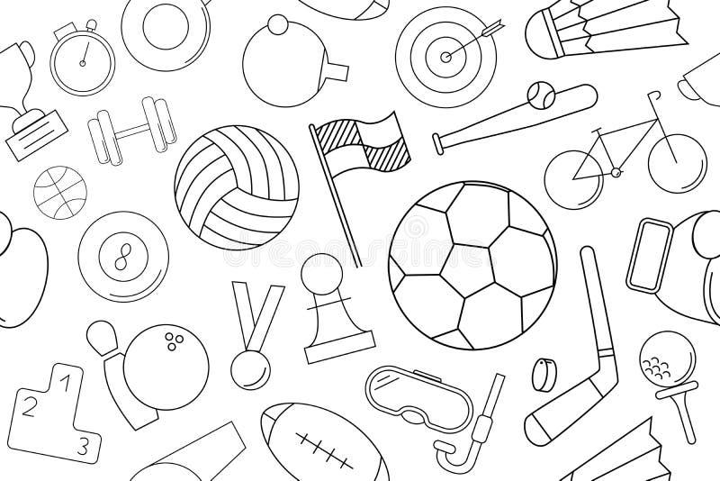 Modello di sport di vettore Fondo senza cuciture di sport illustrazione di stock