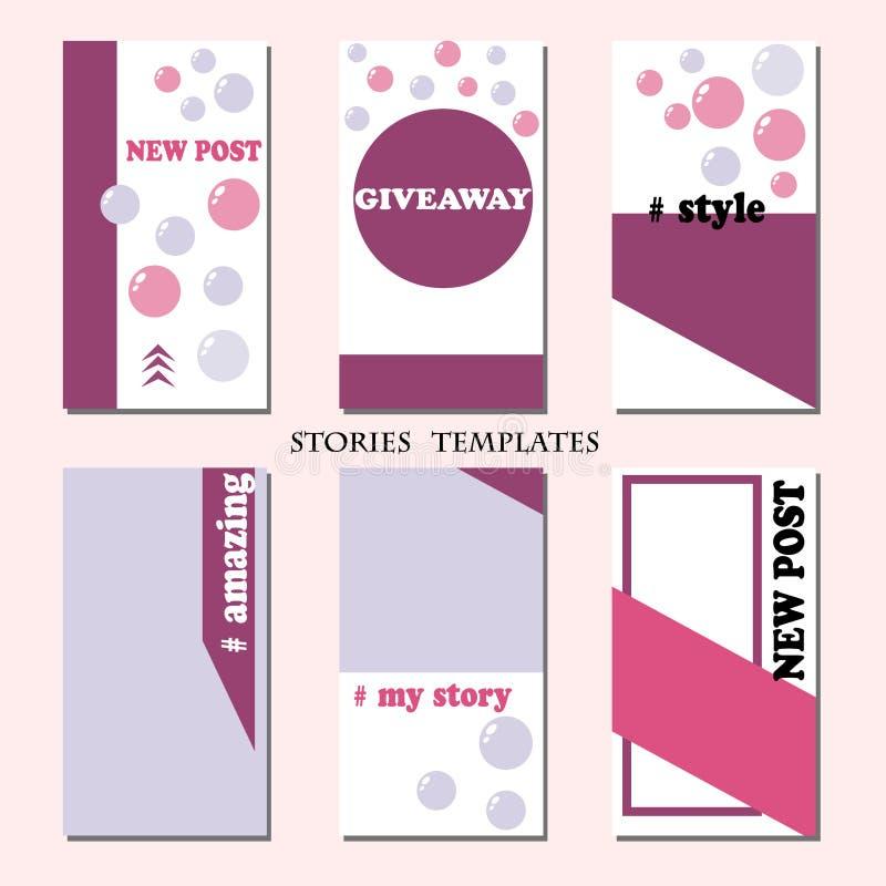 Modello di storie Disposizione editabile di vettore per le reti sociali illustrazione vettoriale