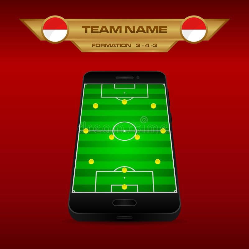 Modello di strategia di formazione di calcio di calcio con il campo di prospettiva sullo smartphone 3-4-3 illustrazione vettoriale