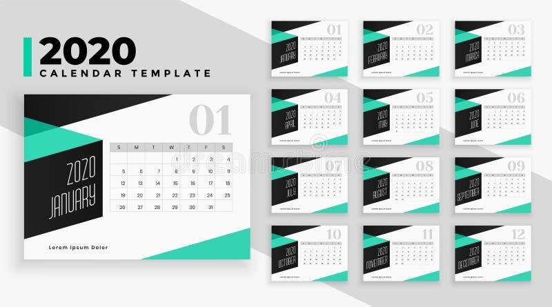 Modello di struttura del calendario moderno 2020 in stile geometrico illustrazione vettoriale