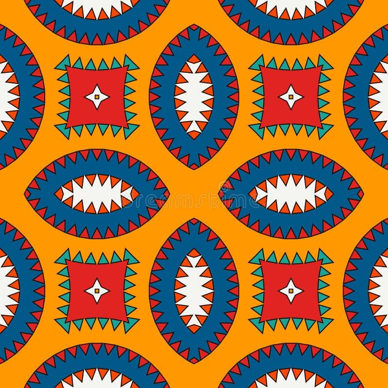 Modello di superficie senza cuciture di stile africano con le figure astratte Stampa etnica e tribale luminosa con le forme geome illustrazione vettoriale