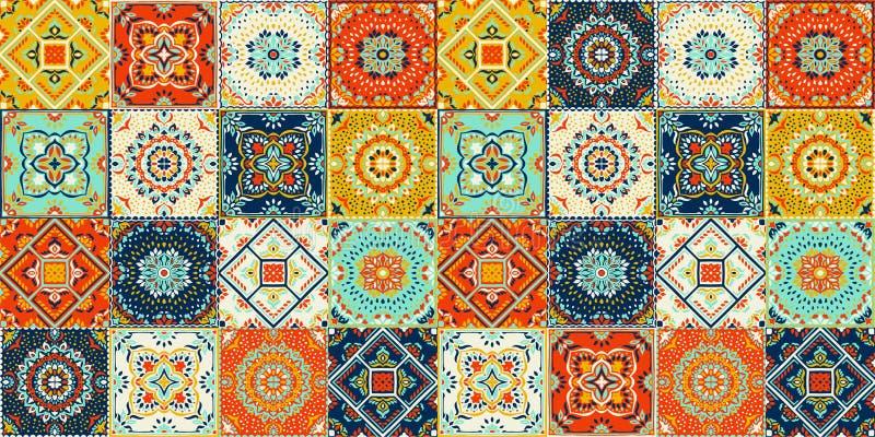 Modello di Talavera Rappezzatura indiana Azulejos Portogallo Ornamento turco Mosaico marocchino delle mattonelle illustrazione di stock