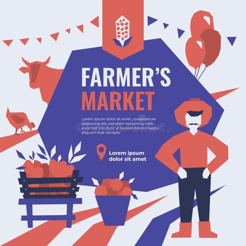 Modello di tema del mercato dell'agricoltore Modello per l'insegna, annuncio, stampa, aletta di filatoio illustrazione di stock
