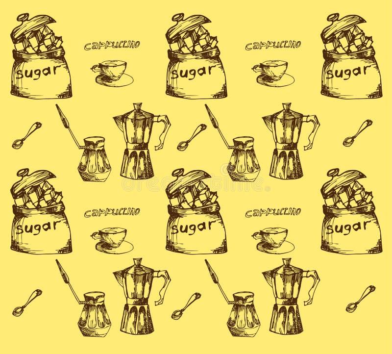Modello di tempo del caffè, fondo senza cuciture per la vostra progettazione Linea di tempo del caffè icona, contorno sottile su  royalty illustrazione gratis