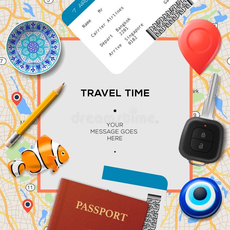 Modello di tempo di viaggio Passaporto internazionale, passaggio di imbarco, biglietti con il codice a barre, amuleti e chiave su illustrazione vettoriale
