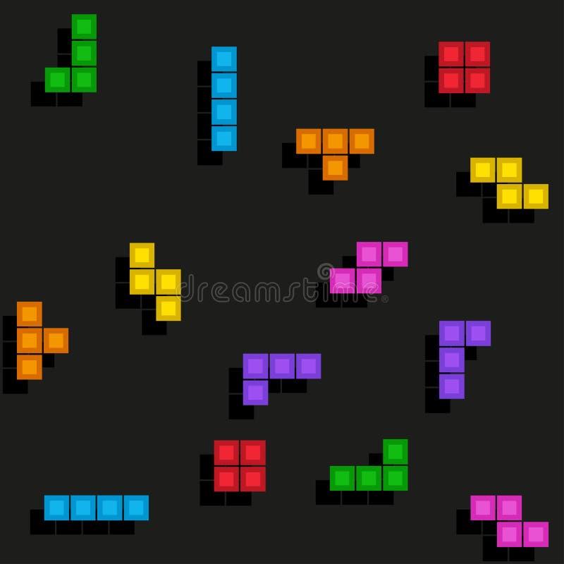 Modello di tetris del gioco di Pixelated illustrazione vettoriale