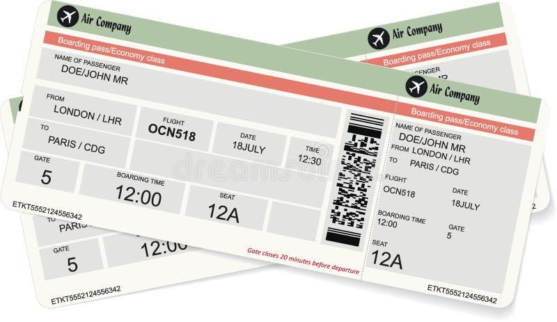 Modello di un passaggio di imbarco o di un biglietto di aria illustrazione vettoriale