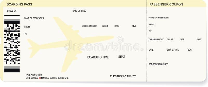 Modello di un passaggio di imbarco o di un biglietto di aria royalty illustrazione gratis