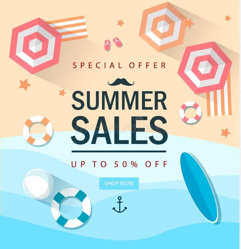 Modello di vendita di vendita di estate con i elemets negozio Online Illustrazione di vettore EPS10 illustrazione vettoriale