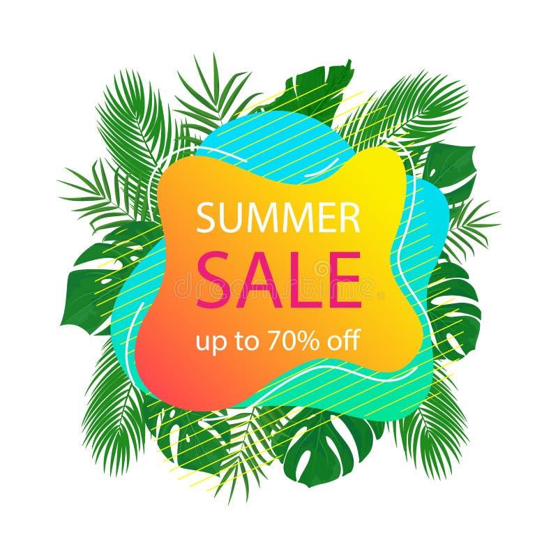 Modello di vendita di estate di vettore con fondo tropicale astratto illustrazione vettoriale