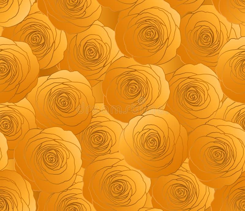 Modello di ventilatore a fiore di rosa Wallpaper sulla moda dell'oro di Glitter Cite Floral Background Vacanze, decorazione nuzia illustrazione vettoriale