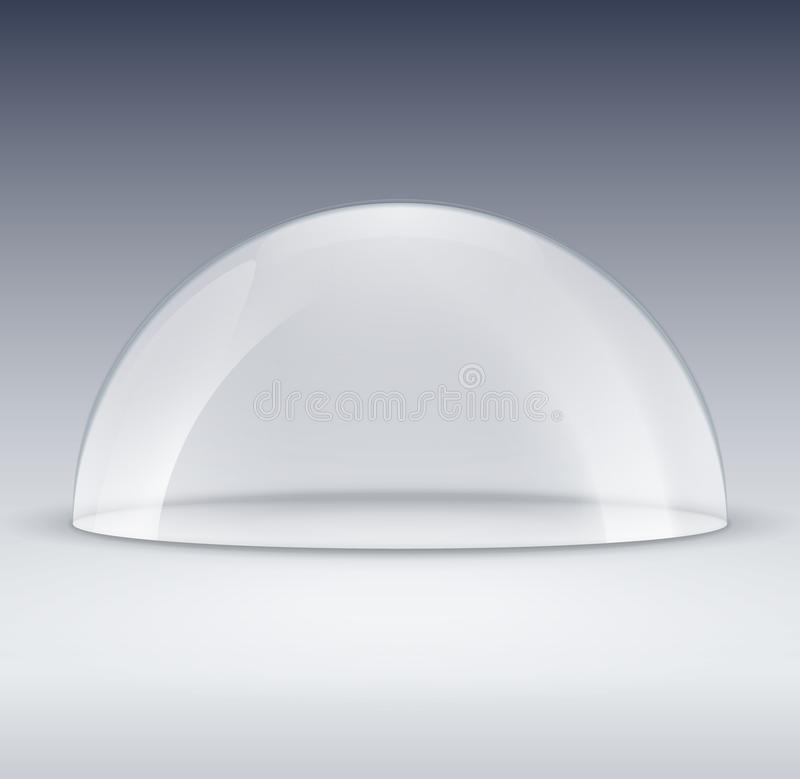 Modello di vetro del contenitore della cupola Copertura di plastica del modello della cupola per la mostra isolata Cupola traspar illustrazione di stock