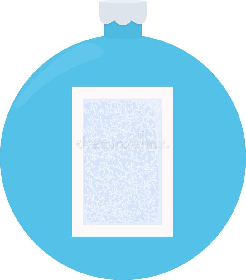 Modello di vetro del gelo Struttura di inverno sul fondo blu della palla di natale illustrazione di stock