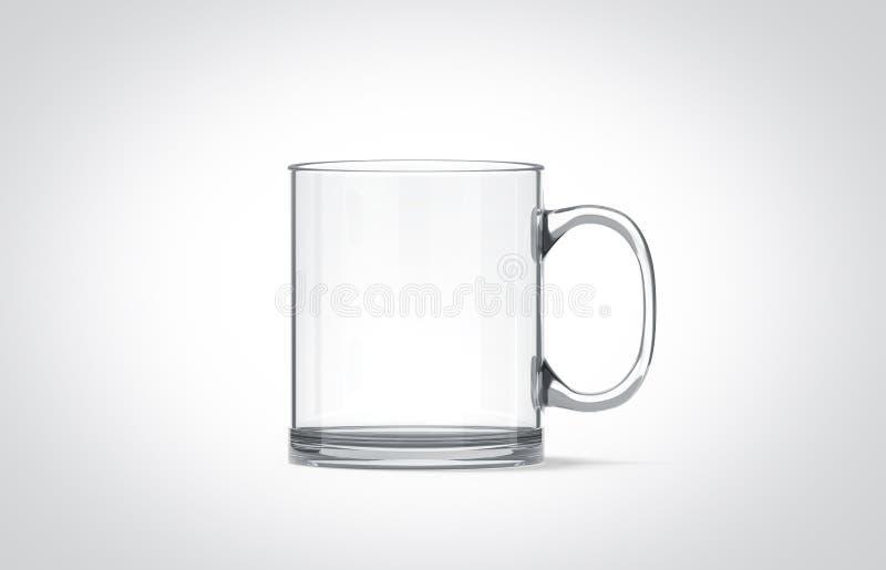 Modello di vetro trasparente in bianco della tazza isolato, fotografia stock