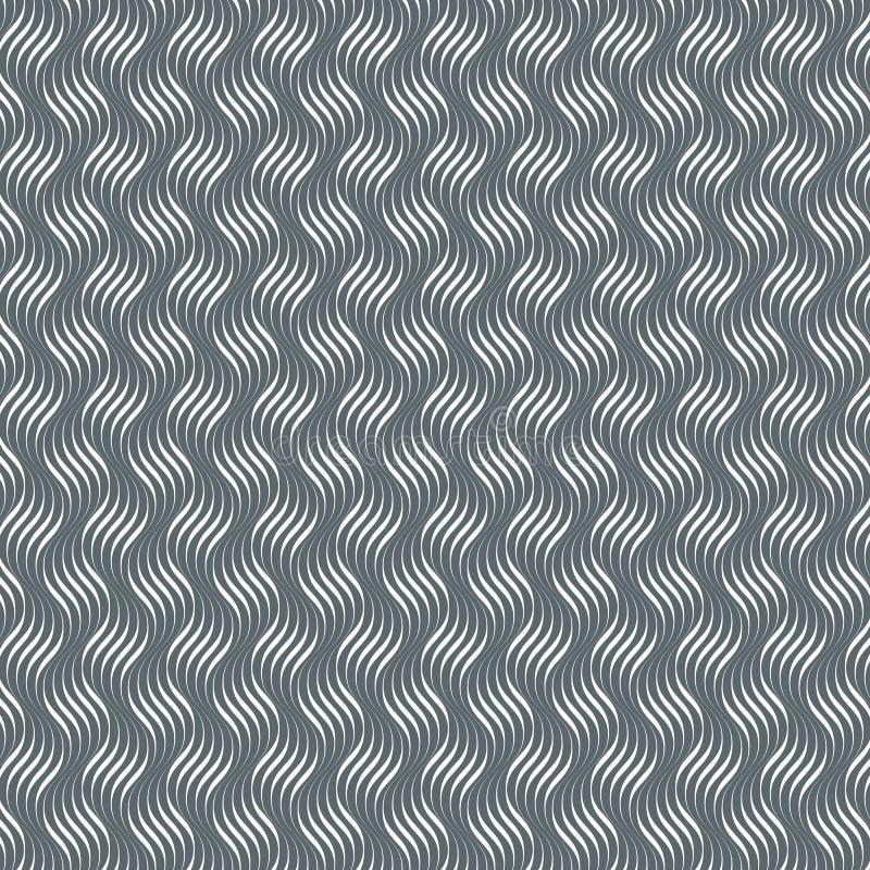 Modello di vettore con le onde geometriche Struttura alla moda senza fine Fondo di monocromio dell'ondulazione royalty illustrazione gratis