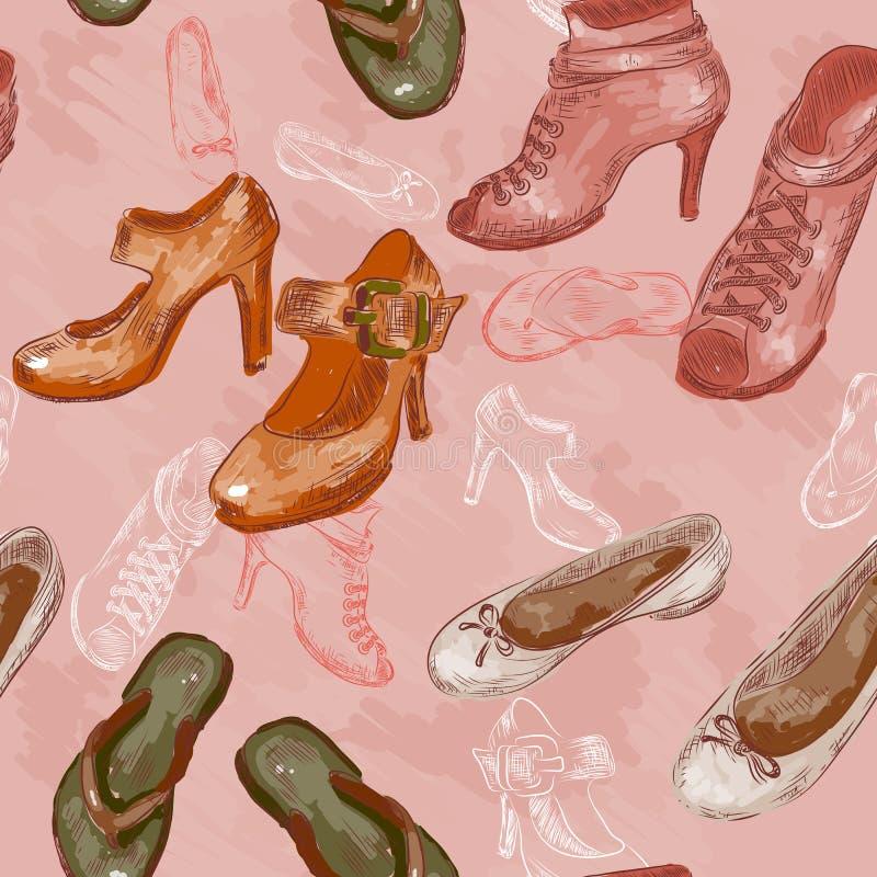 Modello di vettore con le scarpe della donna royalty illustrazione gratis