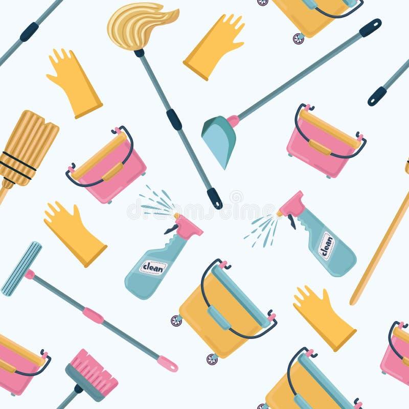 Modello di vettore degli strumenti di pulizia servizio di pulizia fotografie stock libere da diritti