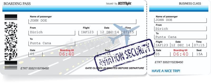 Modello di vettore dei biglietti del passaggio di imbarco illustrazione di stock