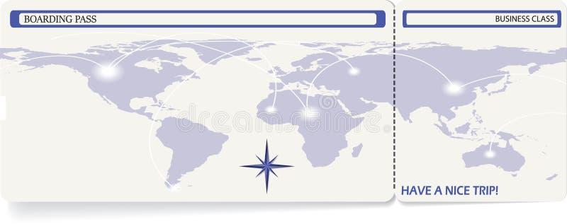 Modello di vettore dei biglietti del passaggio di imbarco illustrazione vettoriale