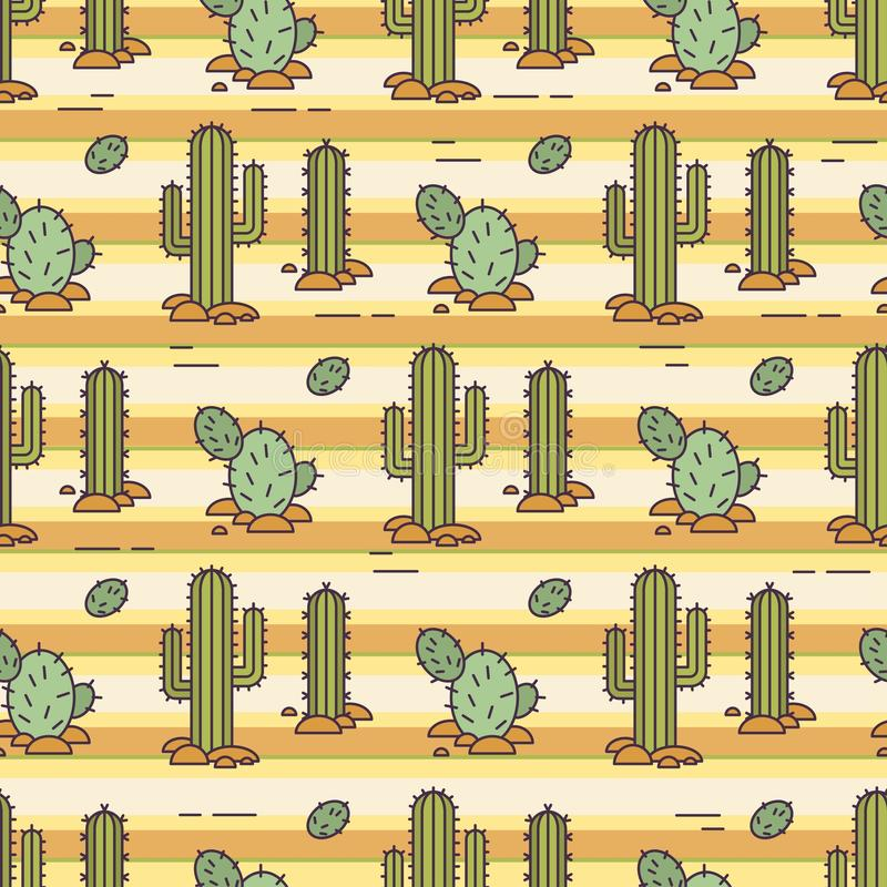 Modello di vettore dei cactus Illustrazione lineare Fondo messicano di vettore illustrazione vettoriale