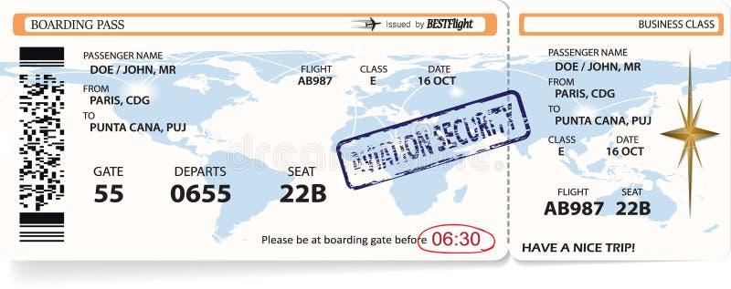 Modello di vettore del biglietto del passaggio di imbarco di linea aerea illustrazione di stock
