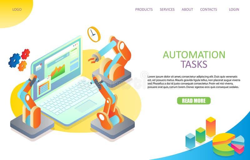 Modello di vettore del sito Web della pagina di atterraggio di automazione di compito illustrazione di stock