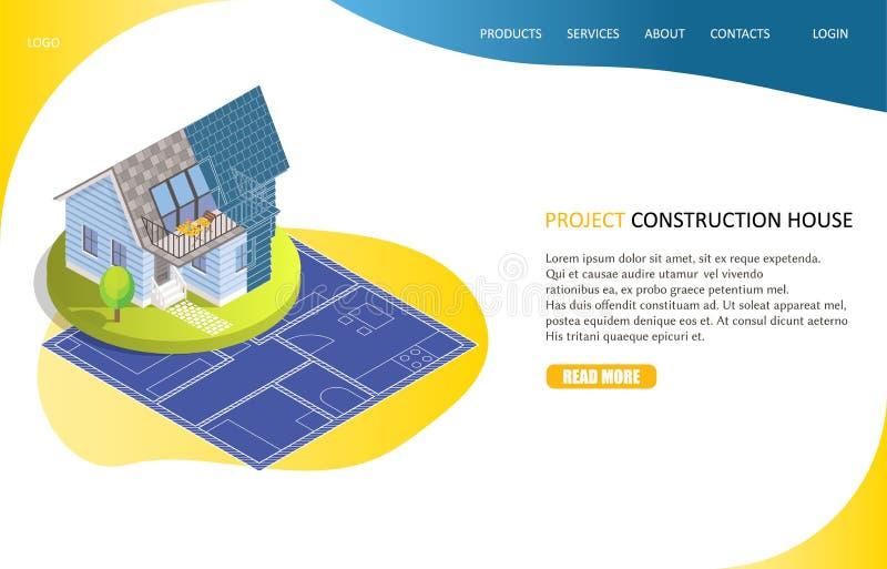 Modello di vettore del sito Web della pagina di atterraggio della casa della costruzione di progetto royalty illustrazione gratis