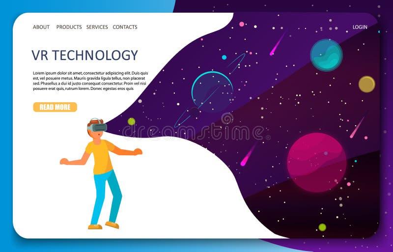 Modello di vettore del sito Web della pagina di atterraggio di tecnologia di VR illustrazione di stock