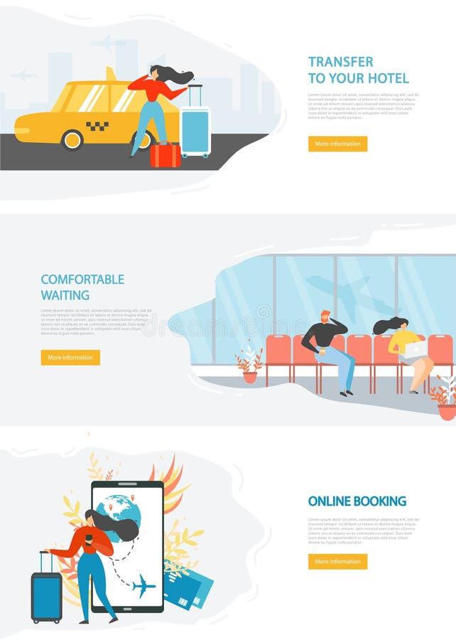 Modello di vettore del sito di web service di viaggio di linea aerea illustrazione vettoriale